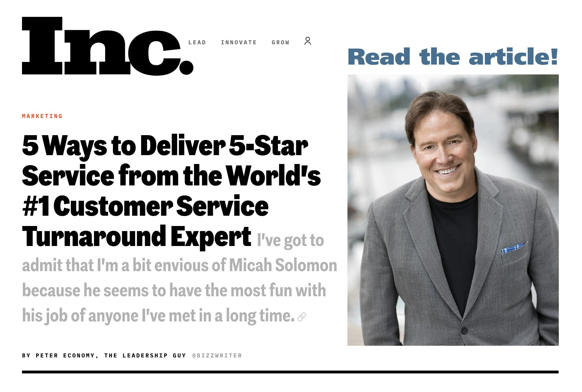 Inc Article: five ways to deliver 5 star service from the world's #1 customer service turnaround expert