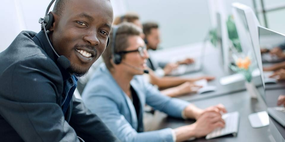 Man working at a call center